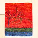 カシュクリミニ大・46×37・赤色・生命の樹・山・ミニギャッベ・真上画