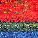 カシュクリミニ大・46×37・赤色・生命の樹・山・ミニギャッベ・アップ画