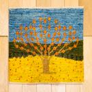 カシュクリミニ大・48×47・水色・黄色・生命の樹・ミニギャッベ・真上画