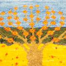 カシュクリミニ大・48×47・水色・黄色・生命の樹・ミニギャッベ・アップ画
