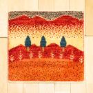 アマレランドミニ大・ 42×44・赤色・原毛・糸杉・ミニギャッベ・真上画