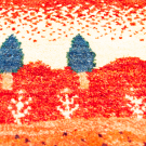 アマレランドミニ大・ 42×44・赤色・原毛・糸杉・ミニギャッベ・アップ画