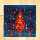 カシュクリミニ・40×40・青色・糸杉・生命の樹・赤色・ミニギャッベ・真上画