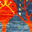 カシュクリミニ・40×40・青色・糸杉・生命の樹・赤色・ミニギャッベ・アップ画