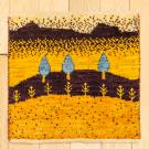 アマレランドミニ・39×37・黄色・糸杉・ミニギャッベ・真上画