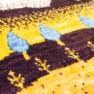 アマレランドミニ・39×37・黄色・糸杉・ミニギャッベ・アップ画