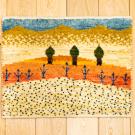 アマレランドミニ・29×38・風景・糸杉・ピンク・黄色・白原毛・ミニギャッベ・真上画