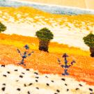 アマレランドミニ・29×38・風景・糸杉・ピンク・黄色・白原毛・ミニギャッベ・アップ画