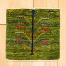 アマレミニ・38×38・緑色・生命の樹・ミニギャッベ・真上画