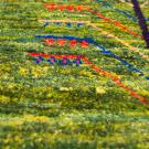 アマレミニ・38×38・緑色・生命の樹・ミニギャッベ・アップ画