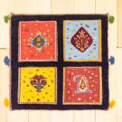 バルーチスペシャル・40×41・紺色・ボテ文様・植物・赤・青・黄色・スフ織り・真上画