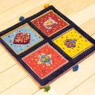 バルーチスペシャル・40×41・紺色・ボテ文様・植物・赤・青・黄色・スフ織り・使用イメージ画