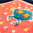 バルーチスペシャル・40×41・紺色・ボテ文様・植物・赤・青・黄色・スフ織り・アップ画