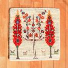 アマレランドミニ・38×38・白色原毛・糸杉・生命の樹・ミニギャッベ・真上画