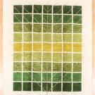 アマレ・249×205・緑色・グラデーション・生命の樹・白原毛・大型ルームサイズ・真上画