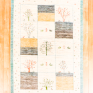 アマレ・184×122・白原毛・生命の樹・鹿・小花柄・水色・センターラグサイズ・真上画