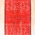 アマレ・181×123・赤色・花・木・鹿・センターラグサイズ・真上画