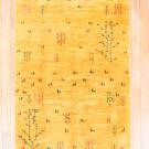 アマレ・175×119・黄色・生命の樹・羊・センターラグサイズ・真上画