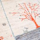 アマレ・184×122・白原毛・生命の樹・鹿・小花柄・水色・センターラグサイズ・アップ画