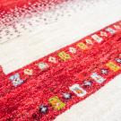アマレ・185×120・赤色・白原毛・生命の樹・センターラグサイズ・アップ画