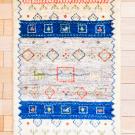 アマレ・92×58・ラクダ・原毛・羊・青色・玄関サイズ・真上画